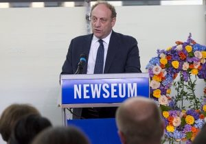Michael Oreskes, senior vice president of news and editorial director of National Public Radio (NPR), speaks during the rededication of the Journalists Memorial at the Newseum in Washington, DC, June 5, 2017 / Getty Images