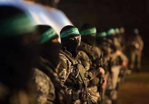 Palestinian members of the Ezzedine al-Qassam Brigades, the armed wing of the Hamas movement