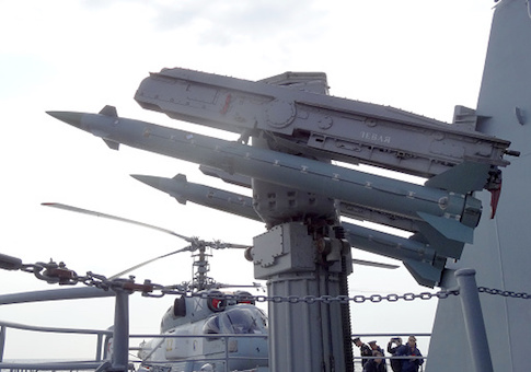 A picture shows an anti-aircraft defence missile system on the Moskva cruiser in the Mediterranean Sea, off the coast of Syria