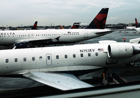 Delta planes sit on the tarmac at LaGuardia Airport