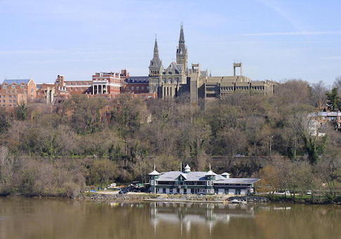 Ciew shows the spires of Healy Hall on the Georgetown University campus in Washington, DC