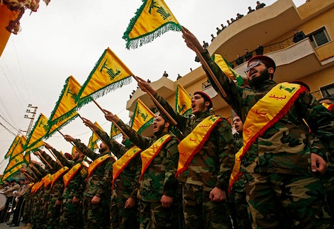 Fighters of the Shiite Hezbollah movement