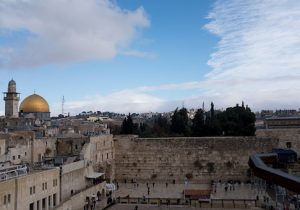 A view of the Western Wall and the golden Dome of the Rock Islamic shrine on December 6, 2017 in Jerusalem, Israel