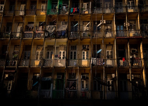 This photo taken on December 1, 2017 shows the facade of an old housing block in downtown Yangon