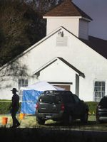 Law enforcement officials investigate at First Baptist Church of Sutherland Springs