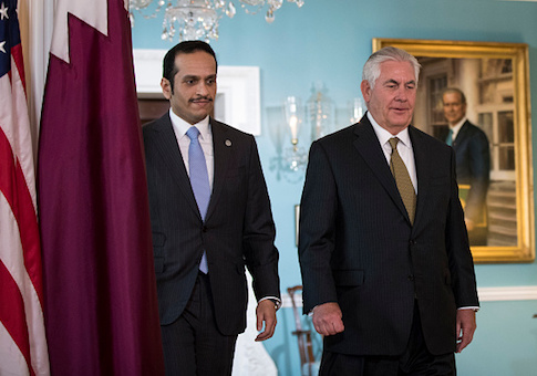 U.S. Secretary of State Rex Tillerson exits a brief media availability before his meeting with Qatari Foreign Minister Sheikh Mohammed Bin Abdulrahman Al Thani