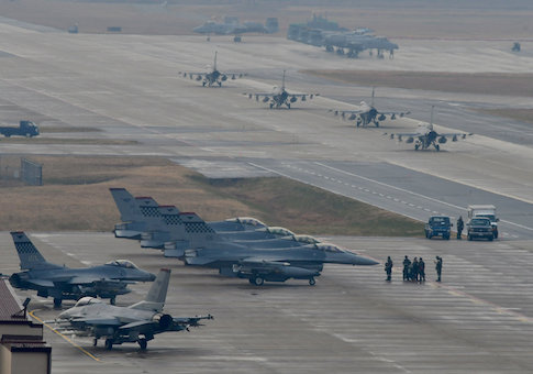 U.S. Air Force F-16 Fighting Falcon fighter aircraft, assigned to the 36th Fighter Squadron, deploy during Exercise Vigilant Ace 18 at Osan Air Base, South Korea U.S. Air Force F-16 Fighting Falcon fighter aircraft, assigned to the 36th Fighter Squadron, deploy during Exercise Vigilant Ace 18 at Osan Air Base, South Korea