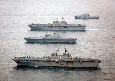 The U.S. Navy amphibious assault ships USS Bonhomme Richard and USS Boxer