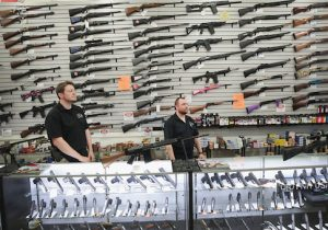 Guns built by DSA Inc and other manufacturers are displayed inside the DSA Inc. store