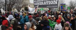 Anti-abortion activists march past the US Capitol during the annual 'March for Life'