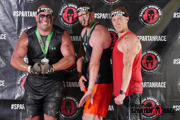 John Lubano (L) & J.J. Hanson (C) prior to running the 14-mile Spartan Race just days after chemo treatment