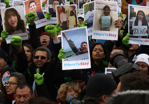 People who call themselves Dreamers, protest in front of the Senate side of the US Capitol to urge Congress in passing the Deferred Action for Childhood Arrivals (DACA) program
