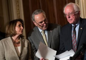House Minority Leader Nancy Pelosi, Senate Minority Leader Chuck Schumer, and Sen. Bernie Sanders