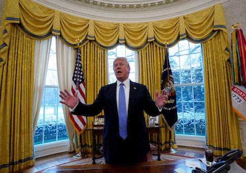 U.S. President Donald Trump speaks during an interview with Reuters at the White House