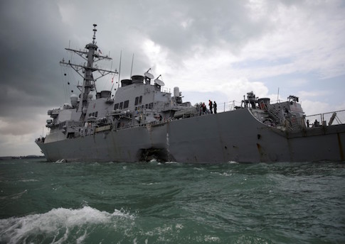 The U.S. Navy guided-missile destroyer USS John S. McCain is seen after a collision