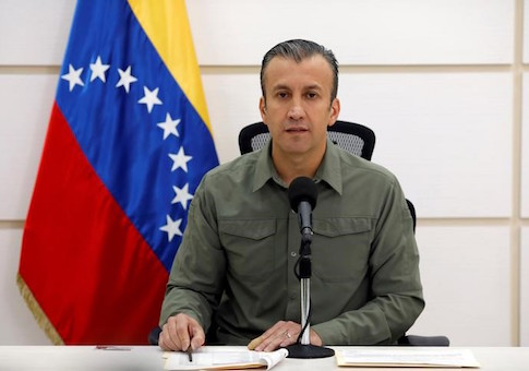 Venezuela's Vice President Tareck El Aissami talks to the media during a news conference in Caracas, Venezuela
