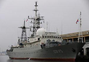 The Viktor Leonov CCB-175, a Russian Navy intelligence warship, is docked to a pier in Old Havana
