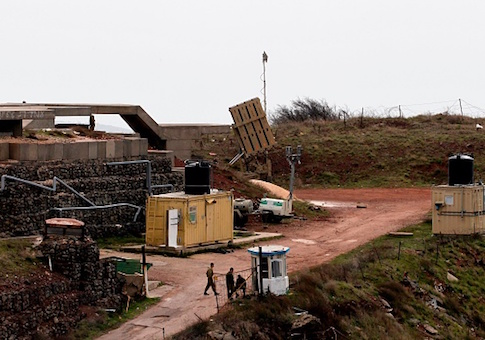 A picture taken on February 11, 2018, shows an Israeli Iron Dome defense system, designed to intercept and destroy incoming short-range rockets and artillery shells, deployed in the Israeli-annexed Golan Heights near the border with Syria