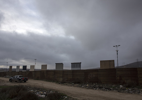 A view of President's Trump border wall prototypes are seen from México