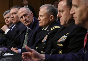 FBI Director Christopher Wray, CIA Director Mike Pompeo, DNI Dan Coats, DIA Director Robert Ashley, NSA Director Michael Rogers, and National Geospatial Intelligence Agency Director Robert Cardillo testify before the Senate Intelligence Committee