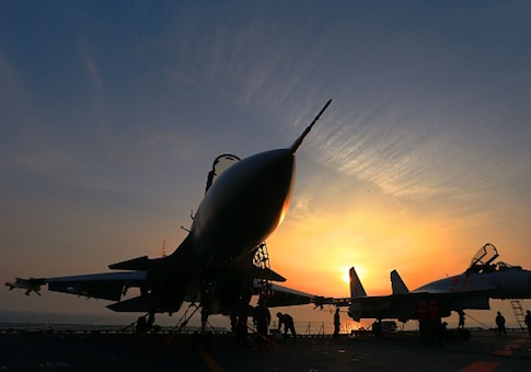 J15 fighter jets on China's sole operational aircraft carrier, the Liaoning