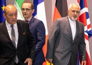 Iran's Foreign Minister Mohammad Javad Zarif, France's Foreign Minister Jean-Yves Le Drian, and Germany Foreign Minister Heiko Maas