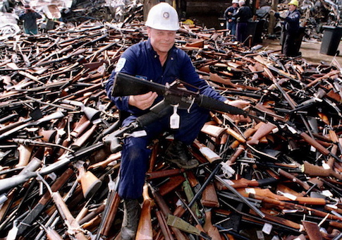 Guns handed in for scrap in Melbourne, Australia