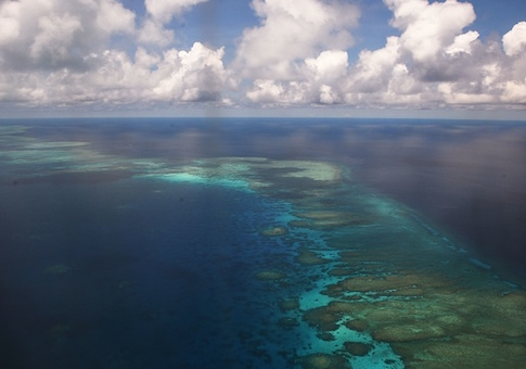This photo shows an aerial shot of part of mischief reef in the disputed Spratly islands
