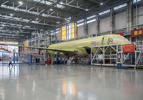 A Commercial Aircraft Corp. of China Ltd. (Comac) C919 aircraft stands under assembly