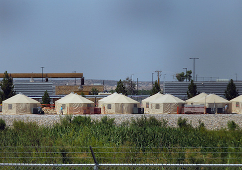 View of a temporary detention center for illegal underage immigrants in Tornillo, Texas