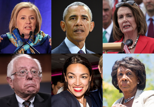 Clinton Obama Pelosi Sanders Ocasio-Cortez Waters