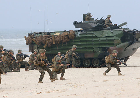 US soldiers take part in a massive amphibious landing during the Exercise Baltic Operations