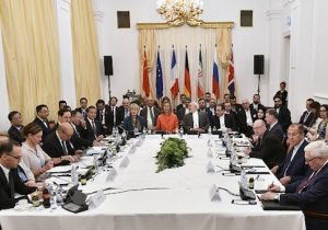 Foreign ministers including Iranian Foreign Minister Javad Zarif and German Foreign Minister Heiko Maas take part in a Comprehensive Plan of Action ministerial meeting on the Iran nuclear deal