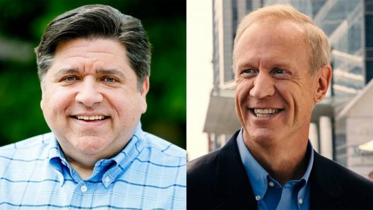 Photos from J.B. Pritzker and Bruce Rauner's Facebook pages