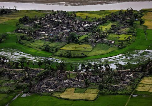 The remains of a burned Rohingya village