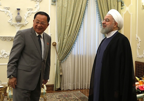 Iranian President Hassan Rouhani and North Korean Foreign Minister Ri Yong Ho