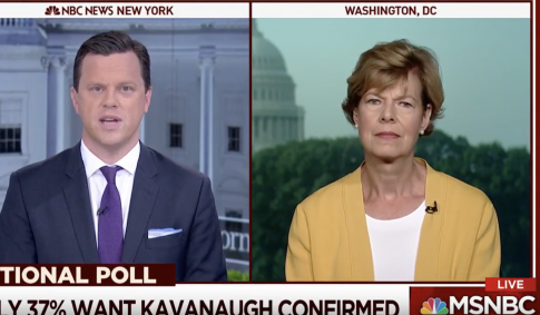 MSNBC Host Presses Baldwin on 'Nakedly Political' Decision to Oppose Kavanaugh Before Meeting Him