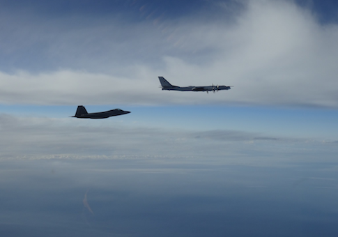 U.S. F-22 intercepting a Russian Tu-95 bomber near Alaska on Sept. 11