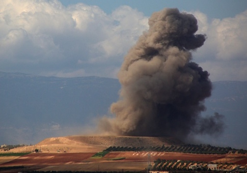 Smoke rises near the Syrian village of Kafr Ain