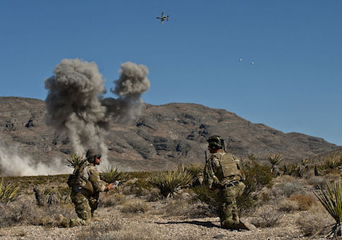 U.S. Air Force Combat Control JTACs from the 21st Special Tactics Squadron call for close air support from an A-10 Thunderbolt II while attending the Air Force's JTAC Advanced Instructor Course