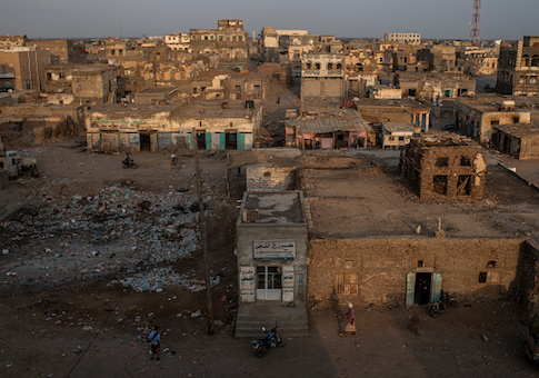 Buildings lay in ruins on in Mocha, Yemen