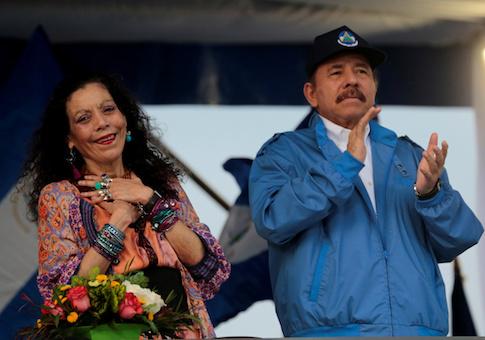 Nicaraguan President Daniel Ortega and Vice-President Rosario Murillo
