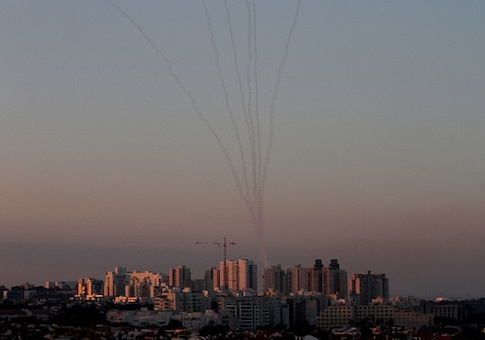 Missiles from Israel's Iron Dome air defense system in the south of Israel destroy incoming missiles fired at Israel from the Palestinian enclave of Gaza