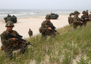 US soldiers take part in a massive amphibious landing