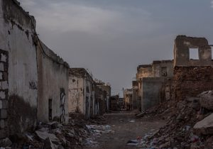 Buildings lay in ruins in Mocha, Yemen