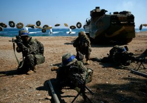 U.S. Marines deployed from Okinawa, Japan participate in the U.S. and South Korean Marines joint landing operation at Pohang in South Korea