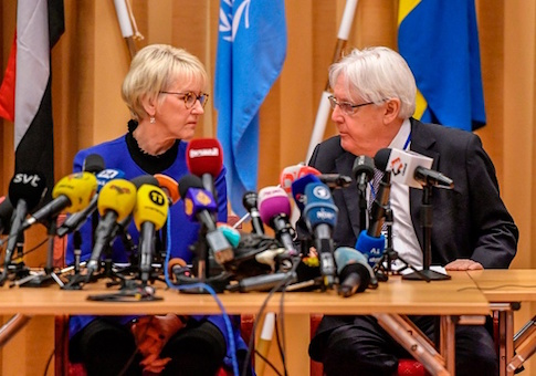 Swedish Foreign minister Margot Wallstrom and UN special envoy to Yemen Martin Griffiths