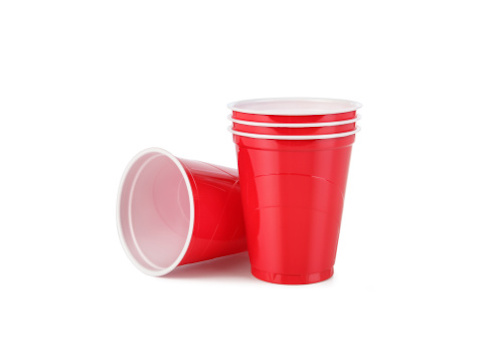 Red Plastic Disposable Cups with Clipping Path