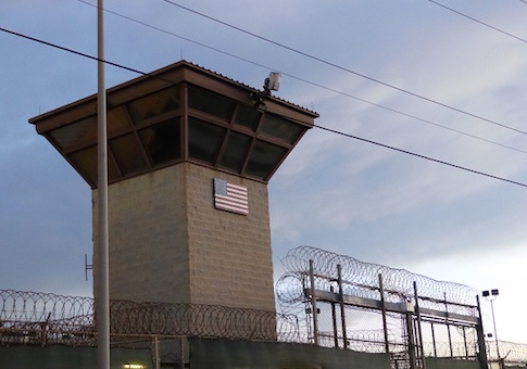The main gate at the prison in Guantanamo