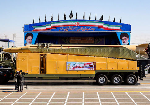 "Long-range Iranian missile ""Ghadr F"" is shown during the annual military parade"